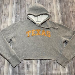 Texas Longhorns Cropped Hoodie Upcycled Stitched